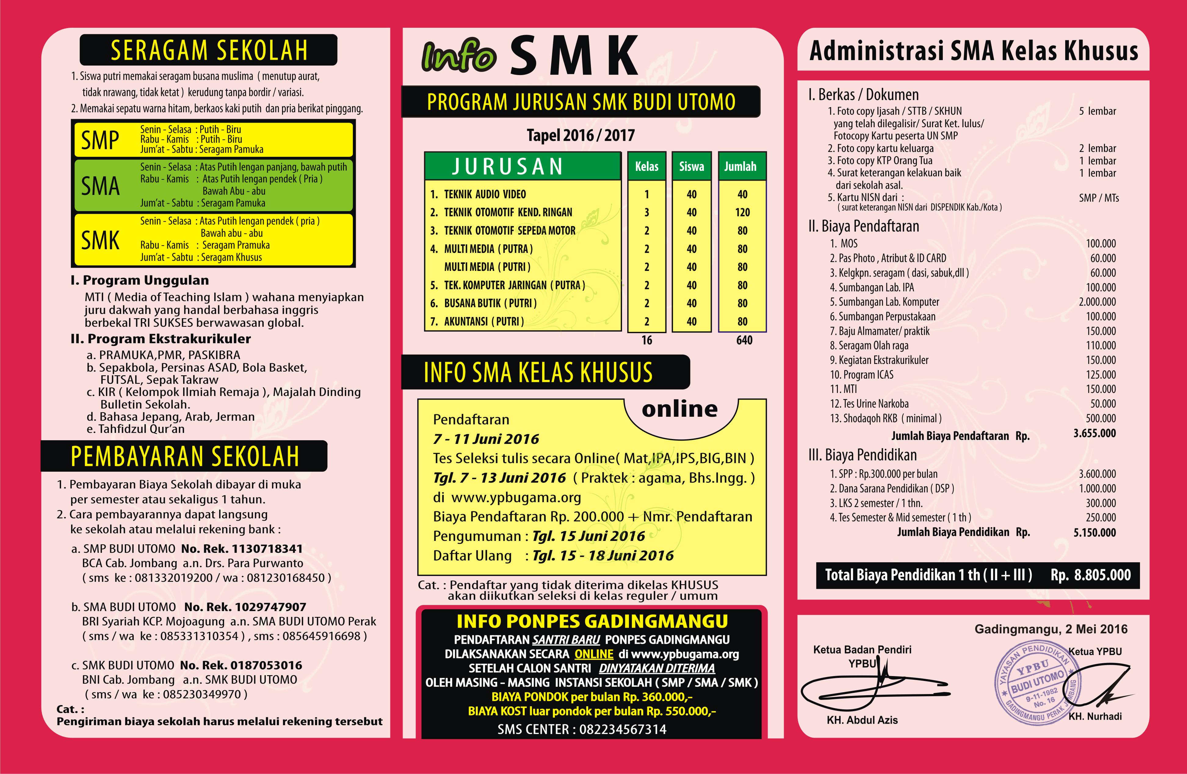 Brosur SMK Budi Utomo Belakang